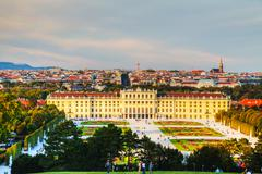 schonbrunn palace in vienna at sunset - stock photo