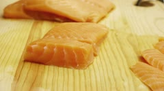 Pink Salmon Sashimi Cuts Stock Footage