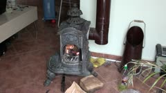Old fireplace with fire Stock Footage