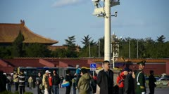 China Police on Beijing Tiananmen Square,Surveillance cameras on street light. Stock Footage