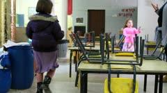 Girls in preschool Stock Footage