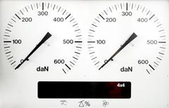 panel control meter of car braking test - stock photo