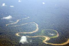 rio curaray in the ecuadorian amazon with oxbow lake - stock photo