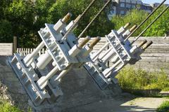 the traction device pedestrian suspension bridge - stock photo