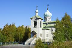 Church of Assumption of the MostHoly mother in Kovdor Stock Photos