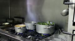 Italian chef cooking vegetables - stock footage
