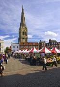 newark on trent market, nottinghamshire, uk. - stock photo