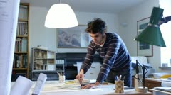 architect working on a drawing - stock footage