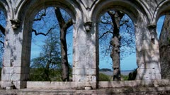 Ruins of the Abbaye maritime de Beauport - Paimpol France Stock Footage