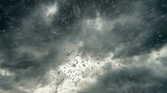 rain, raindrops, clouds, storm, rainfall, droplets, cloudburst, HD - stock footage