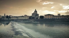 Florence - reflections on Arno river Stock Footage