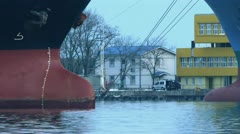 Close-up of cargo ship in the trading port of Odessa, Ukraine Stock Footage