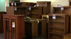 Bookcase Furniture Pan-Zoom Stock Footage