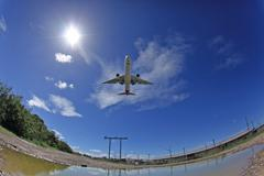 Airplane landing photo Stock Photos