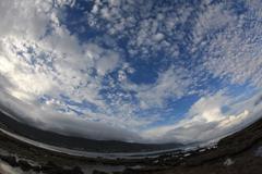 Cloudy beach view - stock photo