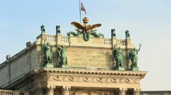 Angel statues on top of building Stock Footage