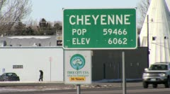 Cheyenne, Wyoming City Limits Sign Close-up Stock Footage