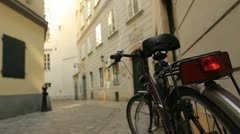 Cobblestone Alley Bicycle Stock Footage