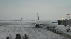 Winter Aircraft Departure From Airport Time Lapse Stock Footage