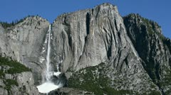 Yosemite Falls in Winter on Clear Day with Ice Cone Stock Footage