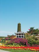 Famous wooden pagoda Stock Photos