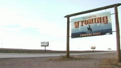 Wyoming State Welcome Sign Pan Stock Footage