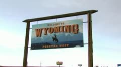 Wyoming State Welcome Sign Stock Footage