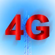 4g symbol with mobile telecommunication tower Stock Illustration