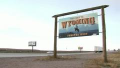 Wyoming State Line With Interstate - stock footage