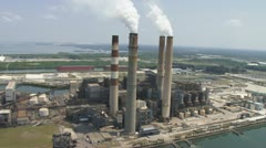 Aerial Coal Powerplant Close - stock footage