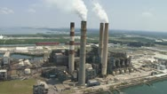 Stock Video Footage of Aerial Coal Powerplant Close