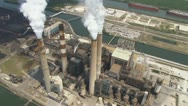 Stock Video Footage of Aerial Coal Powerplant Vertical Smoke
