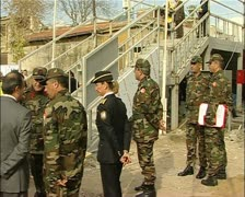 Turkish military near the green line. buffer zone Nicosia Cyprus Stock Footage