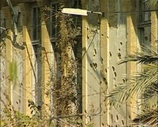 Stock Video Footage of Cyprus Buffer Zone, green line war damaged buildings, Nicosia, Cyprus