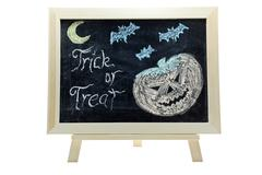 halloween trick or treat drawing - stock photo
