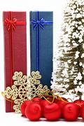 Stock Photo of red and blue holiday box with christmas tree and ornament