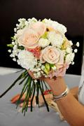 hand arranging flower - stock photo