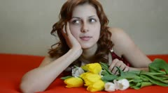 Beautiful girl with a bouquet Stock Footage