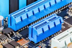 PCI Express slots on computer motherboard Stock Photos
