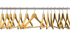 Wooden coat hangers on clothes rail Stock Illustration