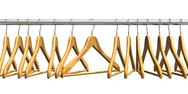 Stock Illustration of Wooden coat hangers on clothes rail