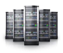 Row of network servers in data center - stock illustration