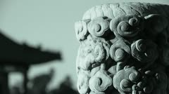 Close-up stone pillars carved sculpture & Cloud pattern.Chinese ancient. Stock Footage