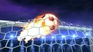 Burning soccer ball is slowly flying in the goal Stock Footage