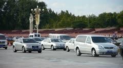 Bustling Chang'an Street traffic,Beijing Tiananmen Square sunny scene. Stock Footage