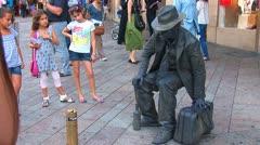 Living statue in Geneva - stock footage