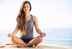 Morning meditation Stock Photos