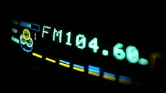 Stock Video Footage of Digital radio receiver tune dial panel. Search for stations. Raising the sound
