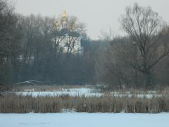 Stock Photo of ancient church behind the branches of trees winter