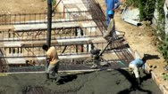 Stock Video Footage of Spackler, Construction Workers, Cement, Concrete